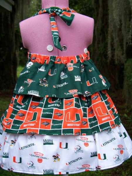 University of Miami Hurricanes dress girls ruffled halter football dress SAMPLE SALE!!