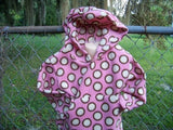 Brown pink and cream polka dot Hoodie fall and winter pullover hoodie
