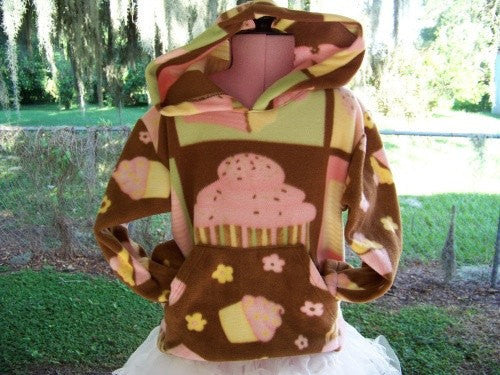 Brown pink and yellow cupcake Hoodie fall and winter pullover hoodie