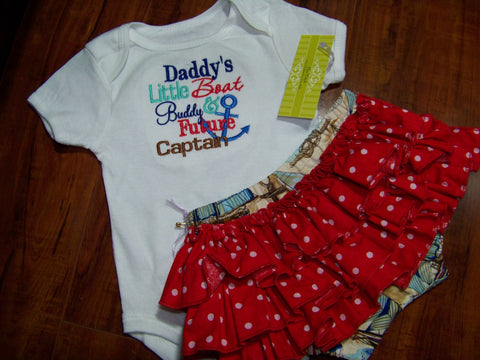 daddys mommys papa nana little buddy future captain two piece ruffle bottom diaper cover set outfit