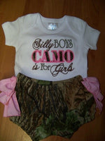 Silly Boys Camo is For Girls Ruffle Bottom Set