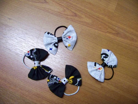 Steelers hairbow  football hair bow pony o's set of two