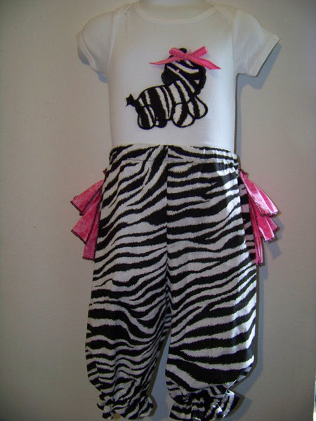 personalized zebra ruffled bottom pants ruffled bottom bloomer pants