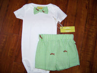 boys two piece custom boutique seersucker shorts and matching bowtie set bow tie