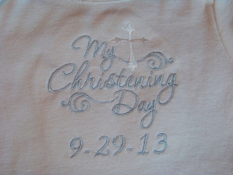 Custom Boutique My Christening Day bodysuit personalized with date for to save as a keepsake