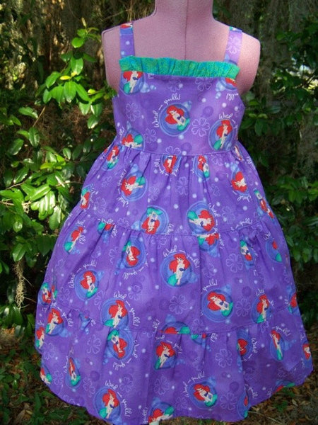 Little Mermaid twirl dress purple Ariel Disney inspired dress