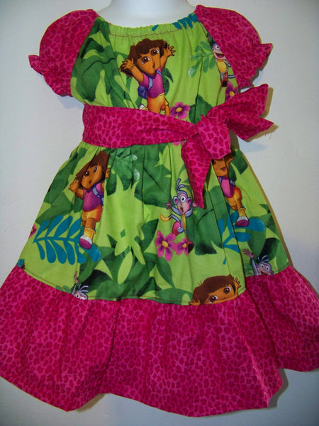 Dora Dress custom made Dora the explorer two piece peasant dress and sash set