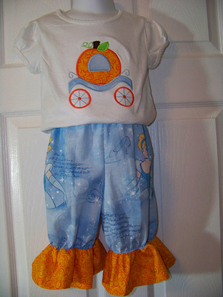Cinderella's pumpkin carriage shirt and ruffle shorts set cinderella personalized pumpkin set outfit