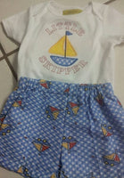 custom boutique little skipper boys sailboat shorts set sailboat outfit