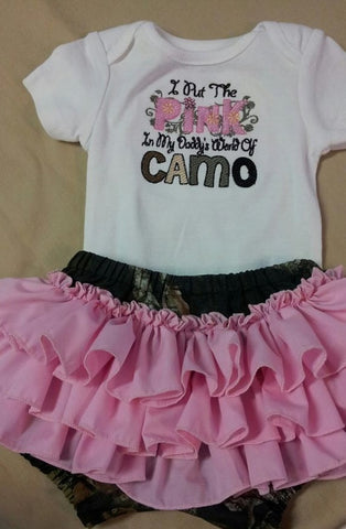 i put the pink in daddy's world of camo ruffle bottom diaper cover camoflauge  outfit
