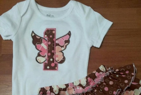 Personalized Birthday butterfly bodysuit girls first birthday 1st birthday bodysuit