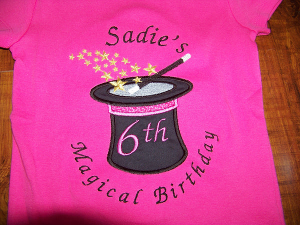 Magical Birthday tshirt custom boutique personalized magic hat and wand shirt