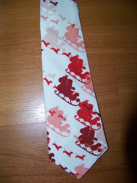 boutique boys custom christmas santa clause tie red and white santa's sleigh tie