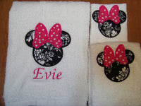 Minnie Towel set DM Boutique Miss Mouse personalized three piece bath towel set