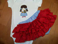Wizard of OZ inspired two piece  diaper cover  Dorothy Costume baby shower gift