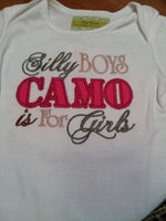 silly boys camo is for girls ruffle bottom diaper cover camoflauge baby outfit