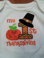 My first thanksgiving  pumkin shirt pilgrim shirt