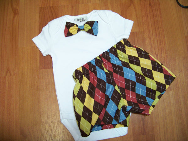 boys two piece custom boutique shorts and matching bowtie shirt bow tie