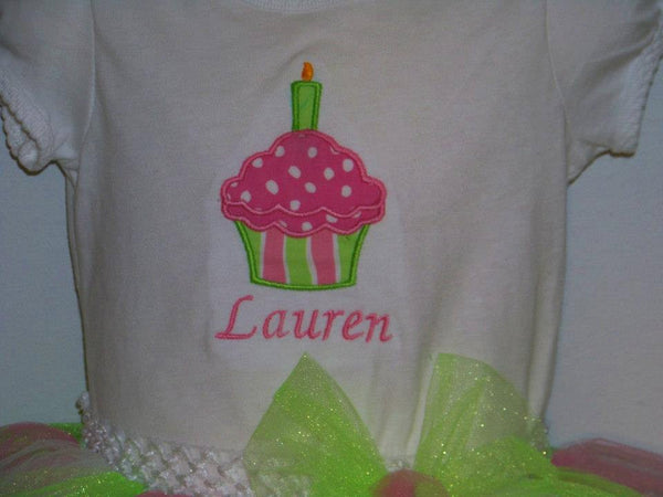 birthday cupcake personalized shirt  pink and green