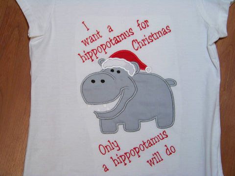 All I Want for Christmas is a Hippopotamus t shirt  all i want is a hippo for christmas boys shirt