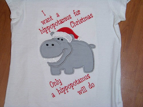 All I Want for Christmas is a Hippopotamus t shirt all i want is a hippo for christmas girls shirt