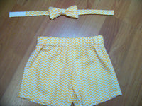 Boy First Birthday Outfit Cake Smash Set Bow Tie Orange and White Chevron Shorts and Bowtie clothing