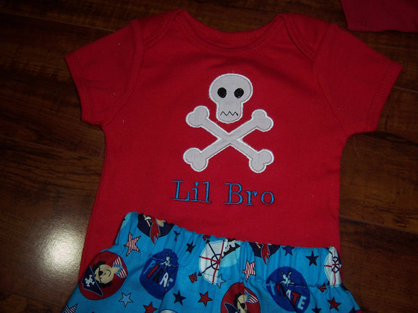 skull and cross bone big sis lil sis big bro lil bro shirt