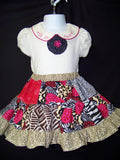 safari two piece skirt and shirt set safari animal zebra leopard print peek a boo skirt