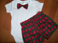 christmas short set boys two piece custom boutique shorts and matching bowtie shirt  bow tie