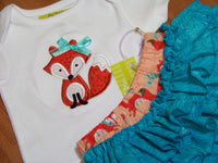 fox flannel two piece ruffled bottom ruffle  diaper cover set outfit great for a baby shower
