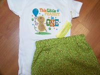 This little peanut is one birthday set two piece boys birthday short set