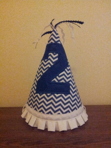 Cheveron birthday hat blue and white themed birthday party hat