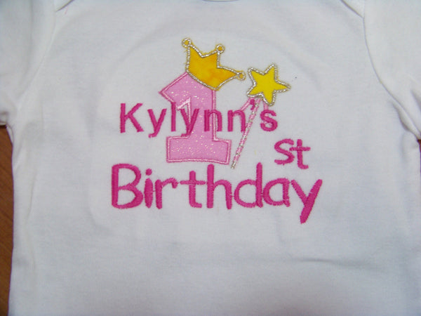 Personalized Birthday princess bodysuit girls  first birthday 1st birthday
