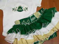 USF ruffled bottom cheer set Bulls ruffled bottom two piece diaper cover south florida outfit