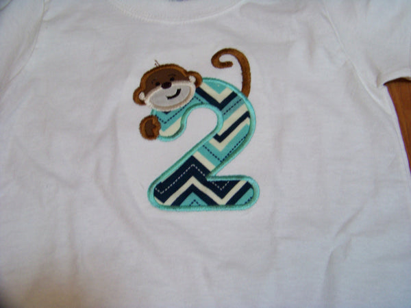 Personalized birthday shirt monkey themed blue chevron number shirt