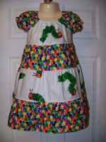 Hungry Caterpillar dress custom made peasant dress