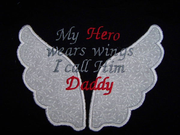 My Hero wears wings shirt mommy daddy nana papa personalized hero t-shirt