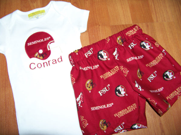 FSU short set Florida State football helmet two piece shirt and shorts set seminoles