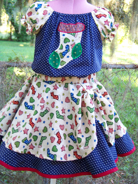 Christmas girls peek-a-boo skirt christmas stocking skirt set blue christmas set