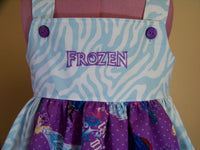 Frozen dress white and bue zebra print frozen apron dress custom made to order