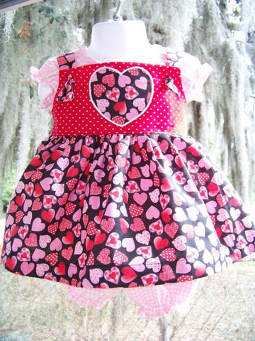 Valentine Three Piece Red, Pink, White Heart Dress Set