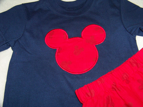 Mickey inspired two piece short set Navy and Red Mr. Mouse Shirt and Shorts