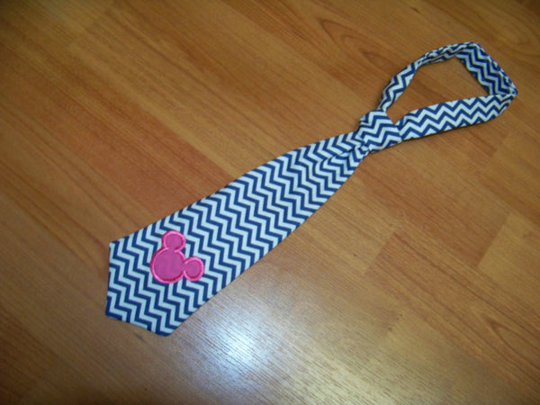 Mickey Mouse inspired blue and white chevron tie easy on/off tie for babies and toddlers necktie