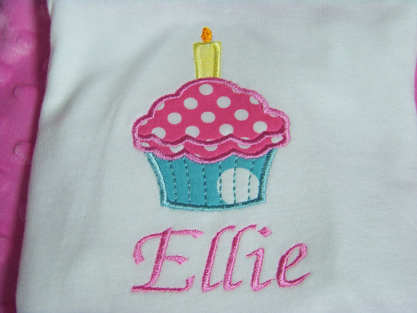 birthday cupcake personalized shirt aqua and hot pink