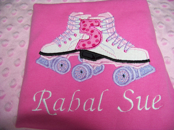 Personalized Birthday roller skate shirt girls party shirt rollerskate birthday party