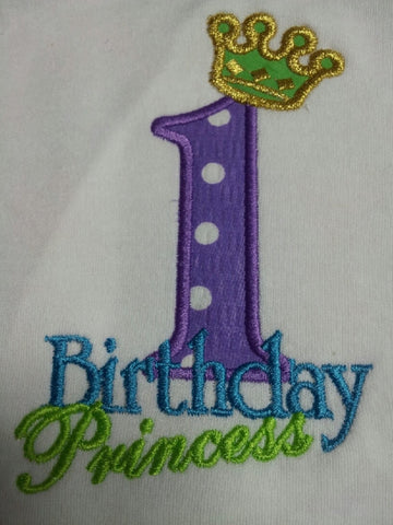 Personalized birthday princess applique shirt princess birthday tshirt  purple and green  princess crown t shirt