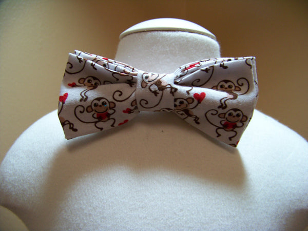 boys valentine bow tie red and white monkey bowtie
