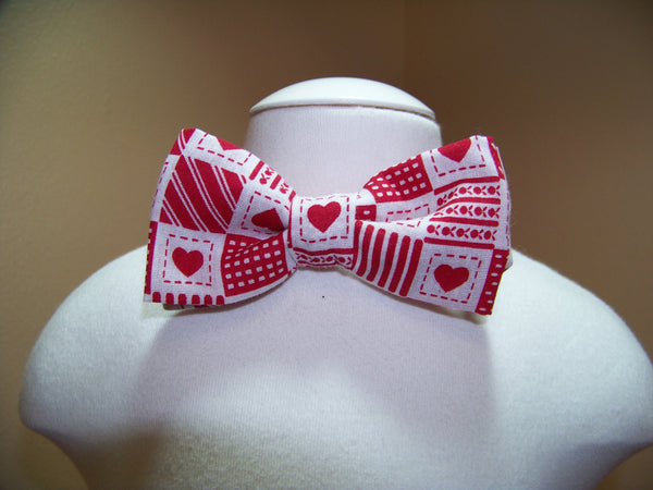 boys valentine bow tie red and white heart bowtie