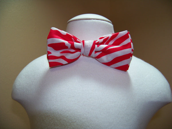 boys valentine bow tie red and white zebra bowtie