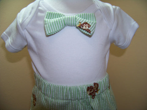 MOnkey bow tie shirt custom boutique DM boys bowtie shirt great baby shower gifts